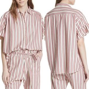 The Great | Flutter Sleeve Striped Shirt 00 NEW